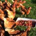Chickens eating strawberries